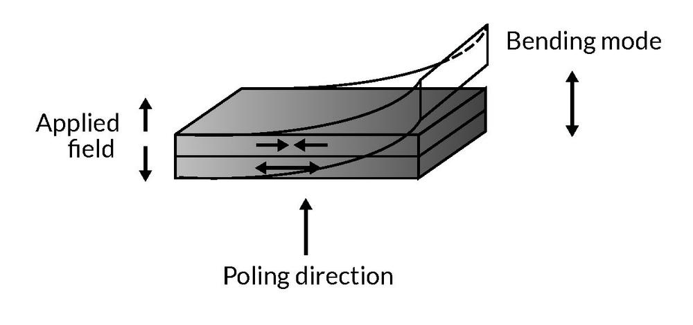 Figure showing the poling direction and the direction of the bending movement